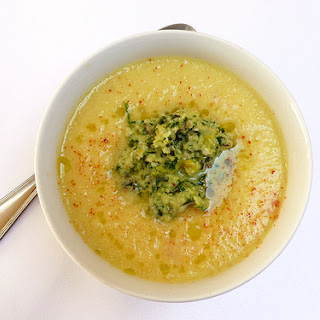 Chilled pineapple and cucumber soup with a garlic, basil and Brazilian nut pesto