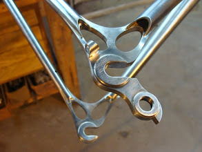 Photo: Ellis dropouts with the open chainstay reveal and stainless loop for Di2 wire routing.