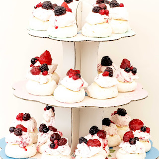 Fruity Meringues With Crushed Raspberry Cream.