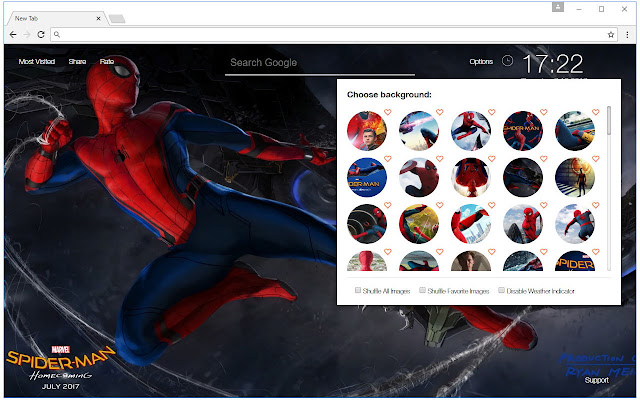 New Tab Themes With HD Wallpapers Of Spider Man Homecoming Film