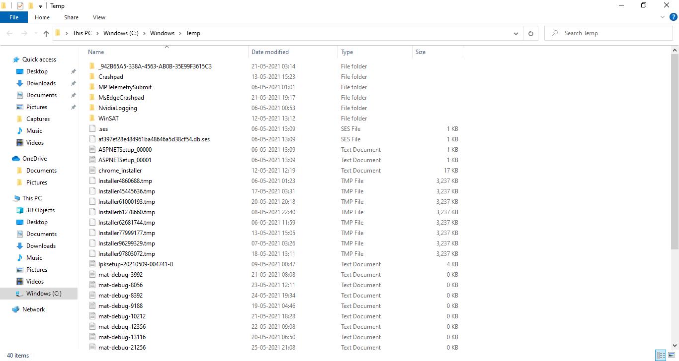 The Temporary Files storage location (Temp folder)