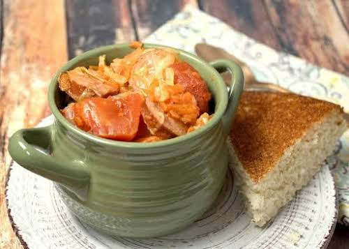 "Comforting Cabbage Sausage Stew""Yesterday, I had a bowl of this cabbage-sausage stew...."