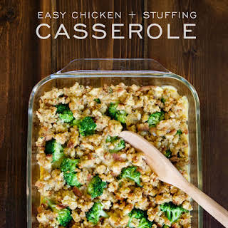 Easy Chicken and Stuffing Casserole.