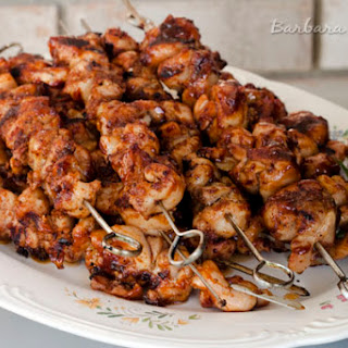 BBQ Chicken Kebabs with a Spicy Bacon Rub.