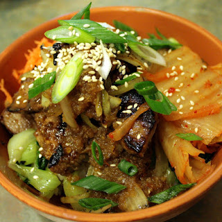 Korean Barbecue Beef and Rice Bowl with Bok Choy