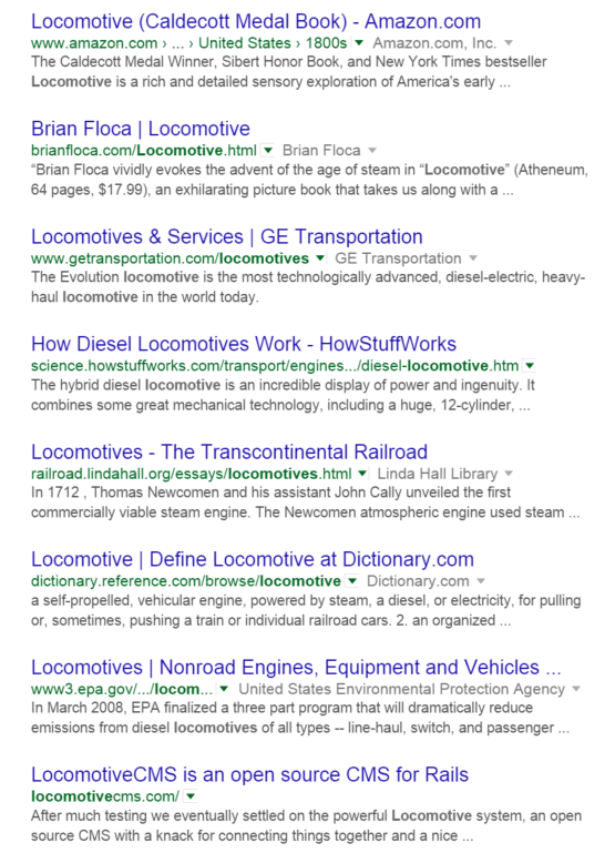 Google Search Results Listings