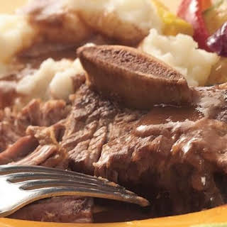 Slow-Cooker Braised Short Ribs with Mashed Potatoes.