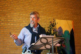 """Photo: Roskildes Biskop Peter Fischer-Møllers foredrag: """" Gud og grønne skove"""""""