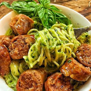 Creamy Collard Green Pesto with Sausage