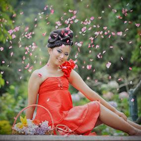 Flower Rain ...... by Monica Anantyowati - People Portraits of Women