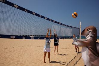 Photo: Dusky playing volleyball at Hermosa Beach. Credit: Chris Panagakis