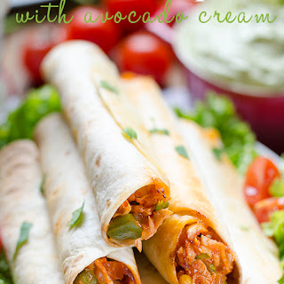 Chicken Taquitos with Avocado Cream