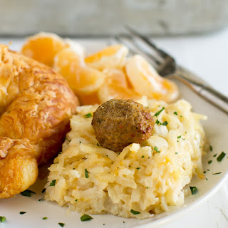 Hashbrown Casserole with Meatballs.