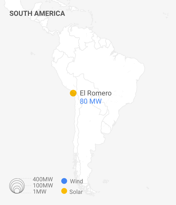 Image of map of South America displaying Google PPA Locations and capacity