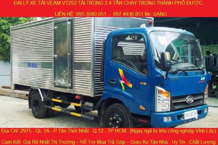 Xe tải veam vt252-1, tải trọng 2.4 tấn, thùng dài 4.1 mét, chạy vào thành phố được, động cơ hyundai.