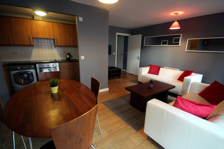 Living area at IFSC Apartments - Key Collections