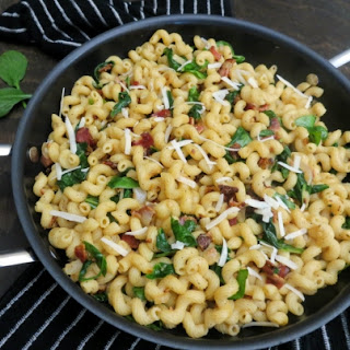 Wilted Spinach Bacon Pasta.