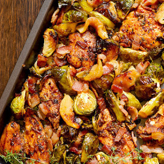 Balsamic Thyme Chicken with Brussels Sprouts, Apples and Bacon.