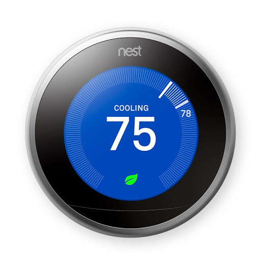 Close up of the black Nest Learning Thermostat