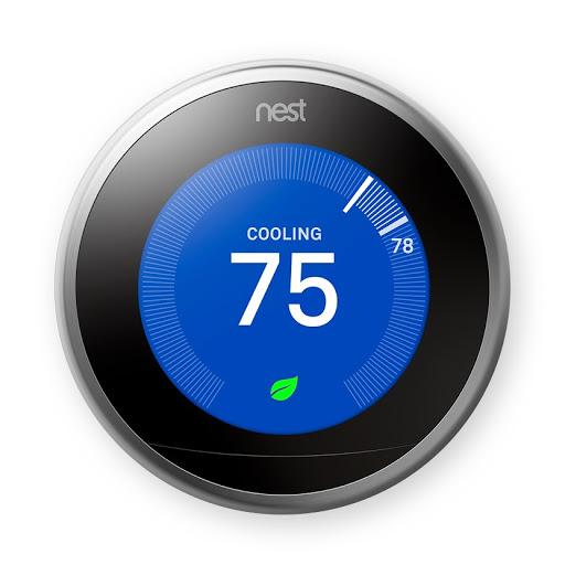 Nahaufnahme des schwarzen Nest Learning Thermostat