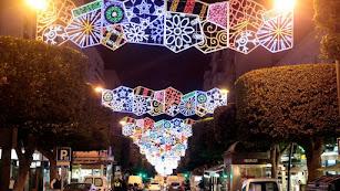 Iluminación en el Paseo de Almería.