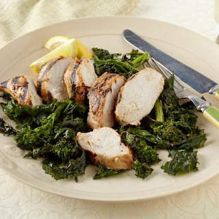 Roasted Broccoli Rabe with Honey-Soy Marinated Grilled Chicken Breast.