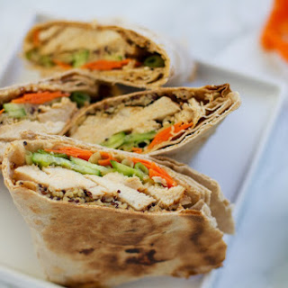 Coconut Red Curry Chicken Wrap with Spicy Peanut Sauce