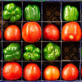 Farm Fresh by Biswajit Chatterjee - Abstract Patterns ( farm, red, fresh, green, vegetables )