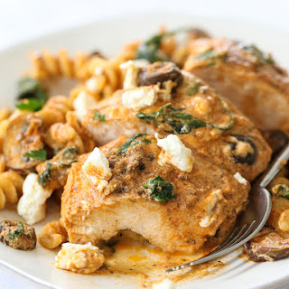 One-Pan Chicken with Creamy Sun-Dried Tomato Pesto Sauce.