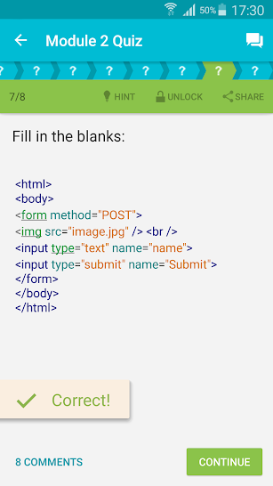 Learn HTML screenshot for Android