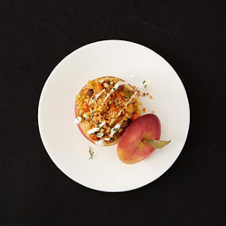 Savory Stuffed Apples with Sausage, Sweet Potatoes and Goat Cheese.