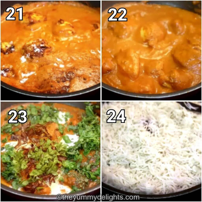 step by step image collage of addition of tandoori chicken to the butter chicken gravy & cooking it.