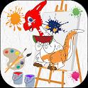 Dinosaur coloring books games icon