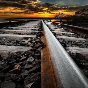 Sunset Railroad ... by Babor Ali Khan - Travel Locations Railway