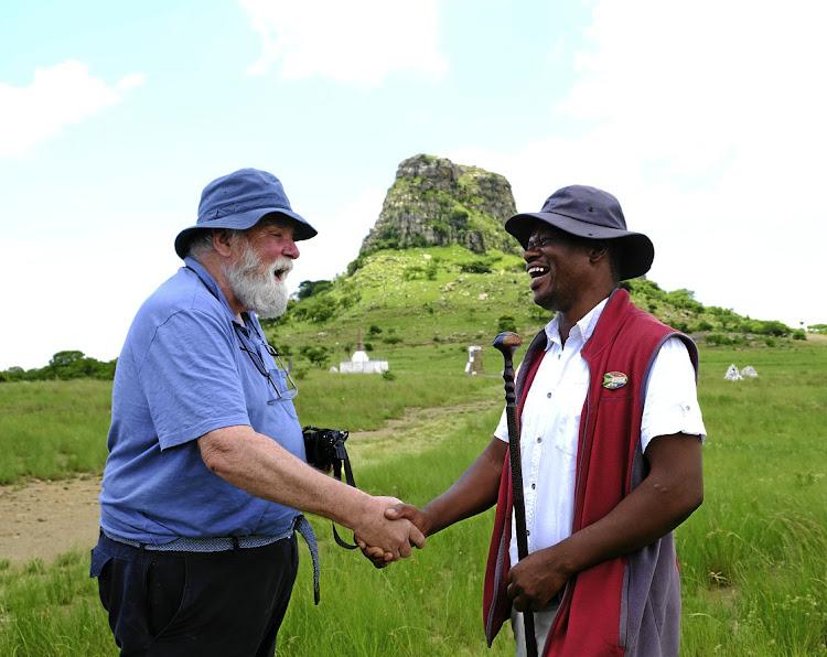 Tourist Mervyn Kidd and guide Dalton Ngobese at Isandlwana.