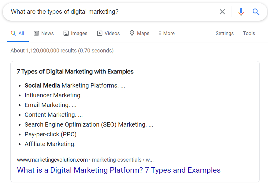 Google Featured Snippet as a quick answer.