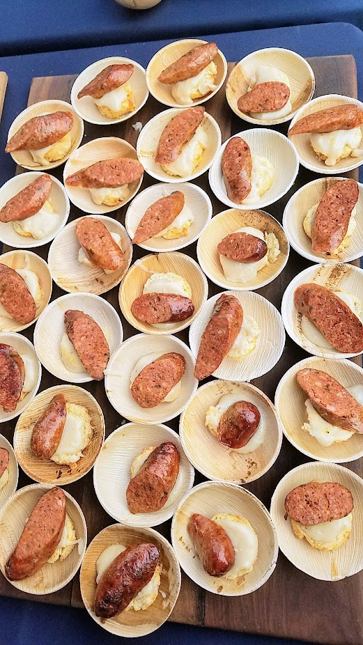 Review of Feast PDX Smoked 2017, Sunny Jin of JORY at The Allison in Newberg brought Goat Hot Links with Blue Chevre Biscuit, Duck Fat Gravy