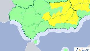 Mapa de Aemet con las alertas por lluvias y tormentas.