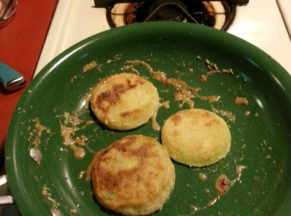 Add floured tomato slices to oiled pan and allow to cook about 3 minutes...