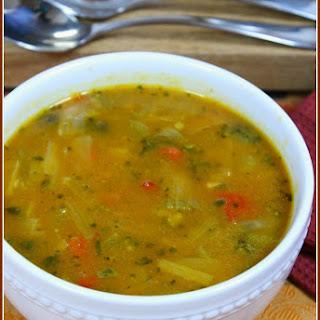 Pumpkin, Turmeric Rice, Veggie Soup Chopped