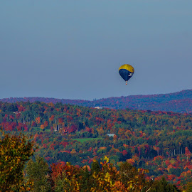 Up Up and Away by Bob Minnie - Transportation Other ( foliage, hot air balloon, color, vermont, autumn )