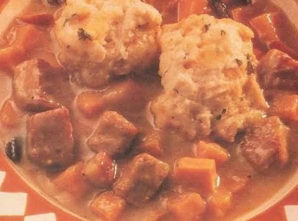 Cider Pork Stew With Cheddar Dumplings