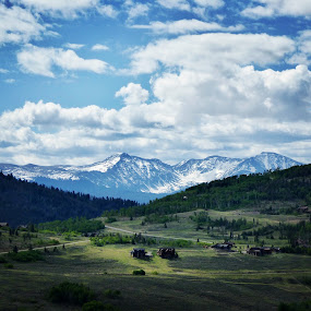 Home Sweet Home by Kerry Demandante - Landscapes Mountains & Hills ( sky, mountaind, continental divide, meadows, houses, buildingd, snow caps, clouds, rocky mountains, trees, colorado,  )