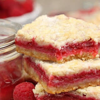 Raspberry Rhubarb Almond Bars.