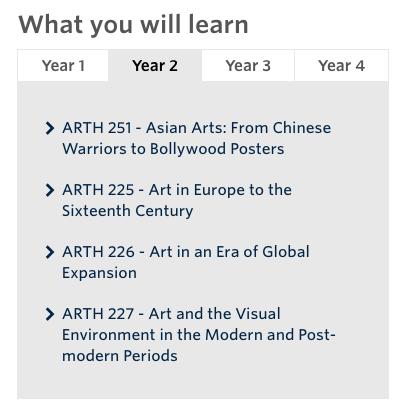 choosing post-secondary schools, list of art history programs