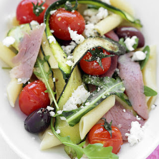 Pasta with Ham, Zucchini and Olives