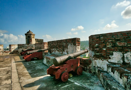 Cannons-atop-Castillo.jpg - Cannons atop Castillo San Felipe de Barajas, a fortress built in 1657 in Cartagena, Colombia.
