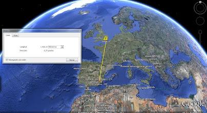 Photo: Metiendo puntos al GPS. De mi casa de Cehegín a la de UK, 1430,10Km en línea recta, a little far for my liking