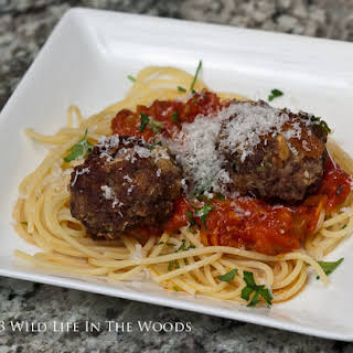 Spaghetti and Venison Meatballs.