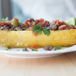 Plantain Boats with Spicy Beef.